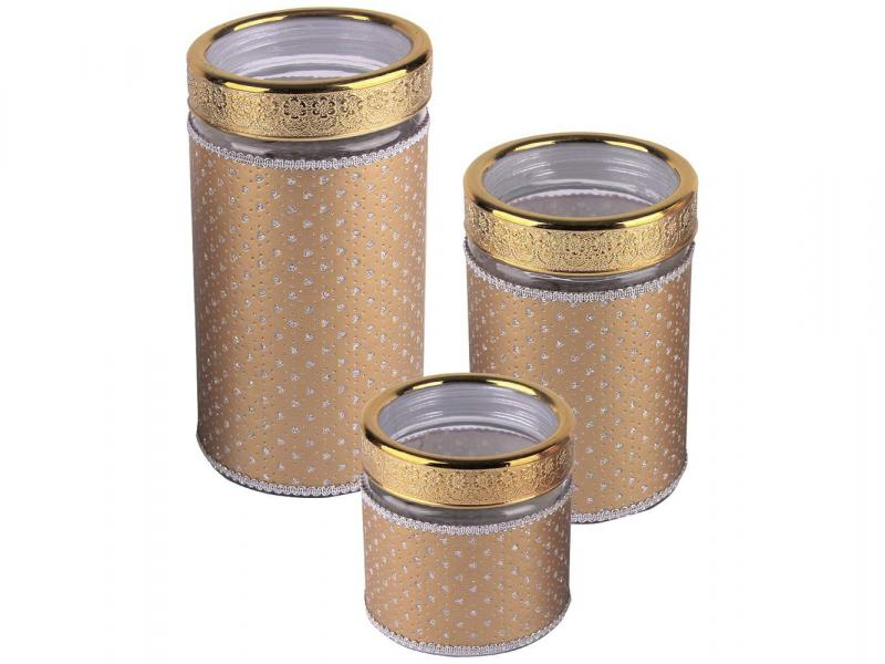 Acrylic jars for storage ZEIDAN, 3 Subject, Gold bottles jars