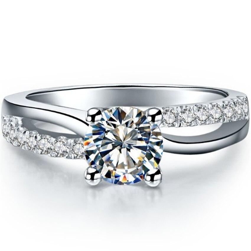 1CT hurtownie wysokiej jakości SONA pierścionek z brylantem na ślub pierścień srebro 18 K białe złoto pokrywa kobiety pierścionek zaręczynowy w Pierścionki od Biżuteria i akcesoria na  Grupa 1
