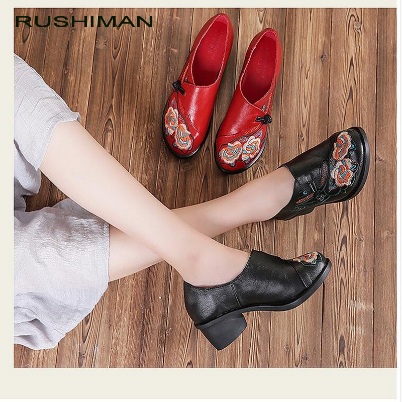 RUSHIMAN 2018 Embroidery Genuine Leather Women Flat Shoes Spring Autumn Soft Thick Heel Women Shoes Round Toe Cowhide Size 35-40