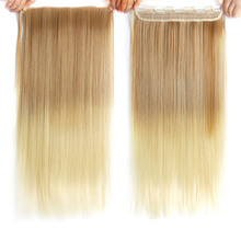 Alileader Natural 60cm Heat Resistant Ombre 5clip Hair Extension Straight Ash Blonde Synthetic Pink kids/ girls