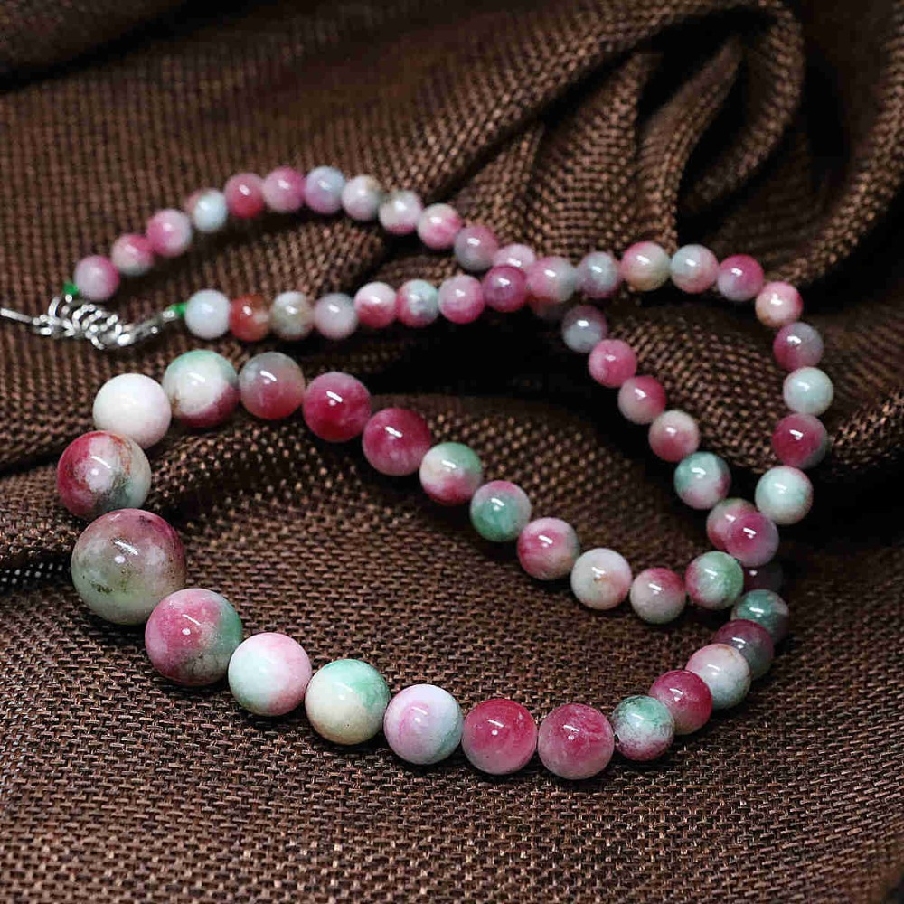 Necklaces & Pendants Generous Vintage Multicolor Pink Chalcedony Jades Stone 6-14mm Round Beads Tower Semi-precious Chain Necklace Trendy Jewelry 18inch B1482