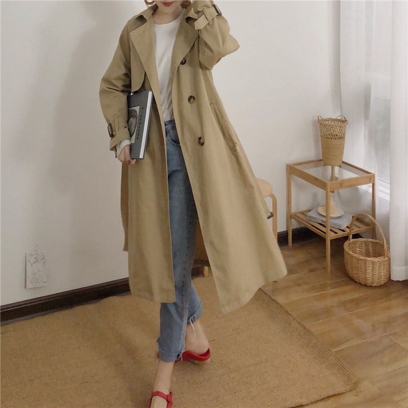 Spring And Autumn Women Fashion Brand Korea Style Waist Belt Loose Khaki Color Trench Female Casual Elegant Soft Long Coat Cloth 8