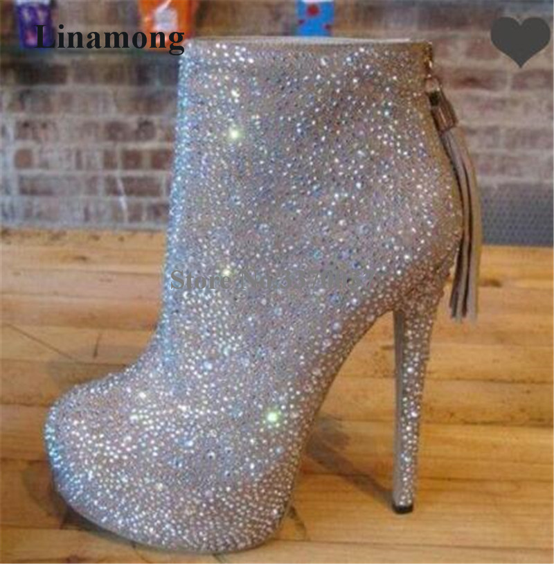 Brand Fashion Women Round Toe Bling Bling Round Toe High Platform Thin Heel Short Boots Zipper Tassels High Heel Ankle Boots round toe flat heel zipper ankle boots