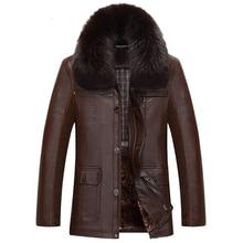 Импорт из Китая куртки черный и коричневый Для мужчин Кожаная куртка Fox меховой воротник среднего возраста Для мужчин s зимние теплые Искусственная Кожа Замша пальто C538