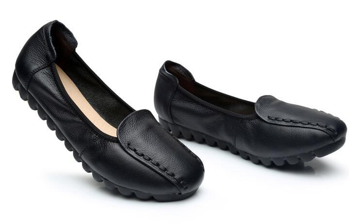 Vache Casual 2018 Xgravity Véritable Chaussures En Couleurs A018 Doux Mocassins Noir bleu Rond red Bout Cuir 3 Femmes Appartements fait Main Lady Femme gx4Xq