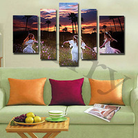 Diy 5pcs Set Diamond Painting Home Decor The Beautiful Sunset And Run Girls 3D Diamond Embroidery