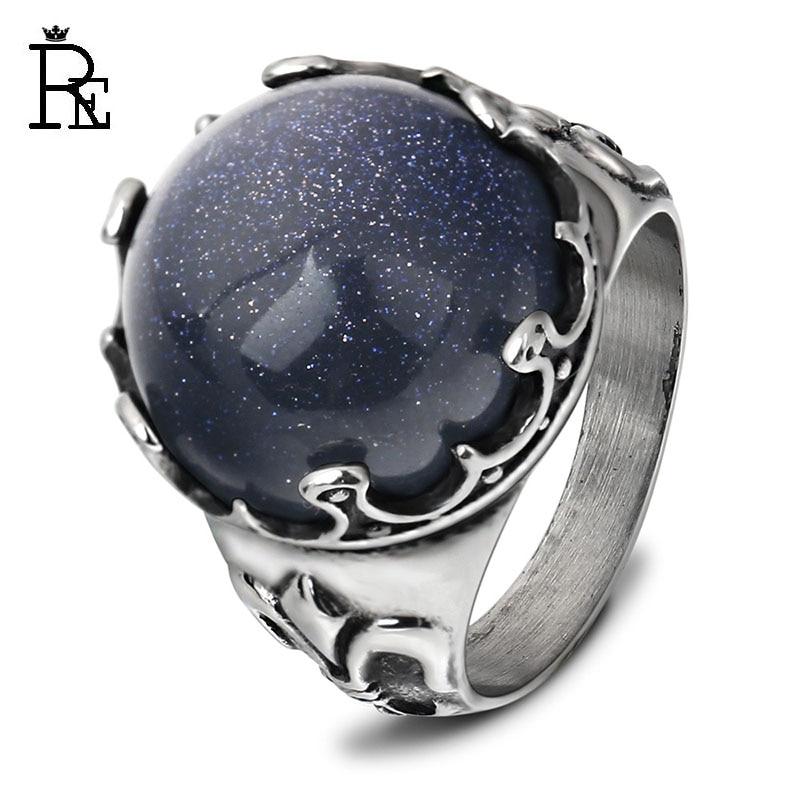 RE Punk Ring for Men Male Big Blue Crystal Titanium Antique Vintage Rings