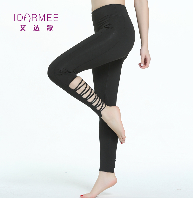 Idarmee S8011 Yoga Pants Women Sport Fitness Running Compression Cross Hollow Out Tights Leggins Femme Gym Leggings Plus Size