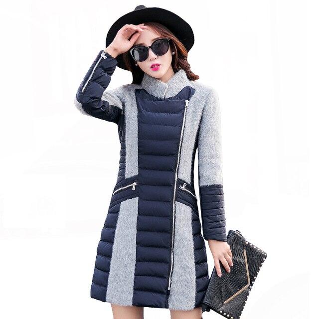 Best Price Winter Coat Women 2018 Fashion Patchwork Cotton Coat Thicken Warm Winter Parka Elegant Slim Long Outwear Winter Jacket Women