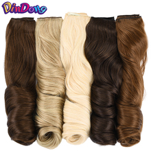 DinDong קליפ בתוספות שיער סינטטי גלי 24 inch 190 גרם פרימיום חום עמיד שיער 613 # בלונד חום 19 צבעים זמין