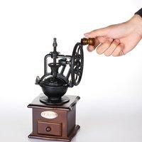 Roda do vintage design manual moedor de café com movimento de cerâmica retro moinho de café de madeira para decoração de casa|Moedores de café elétricos| |  -