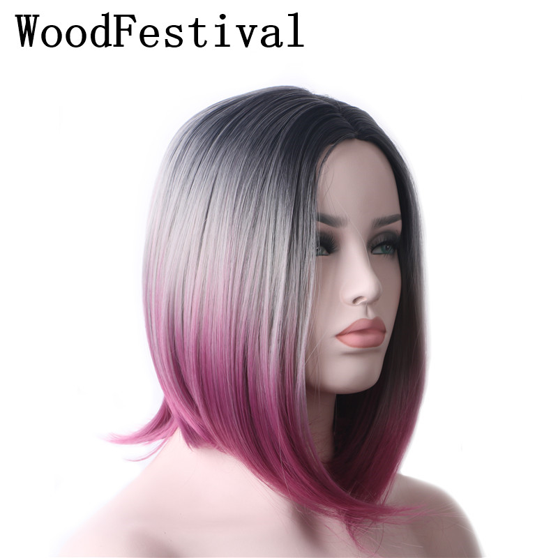 WoodFestival Straight Short Wig Synthetic Brown Black Blue Green Purple Grey Yellow Red Party Cosplay Bob Wigs For Women