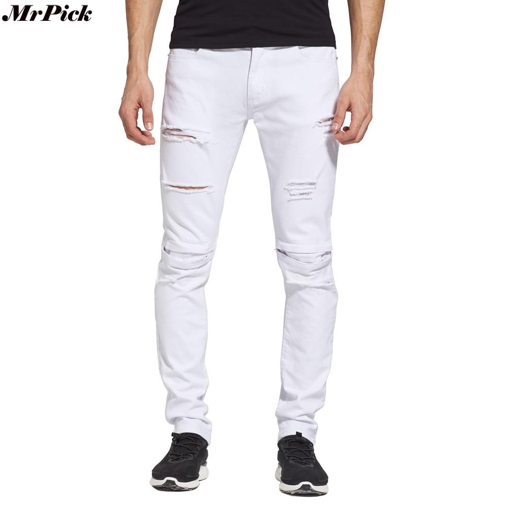 2016 Jeans subțire Designer pentru bărbați Slim Fit Jeans White - Imbracaminte barbati