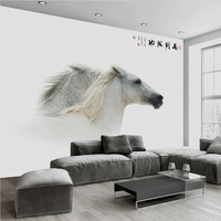 Free Shipping Custom 3d White Beautiful Horse Modern Minimalist Mural Wall Decorative Painting Ornament Wallpaper Chinese