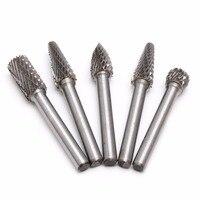 5Pcs 1 4 Tungsten Carbide Burr Bit 6mm Rotary Cutter Files CNC Engraving Tool Y22
