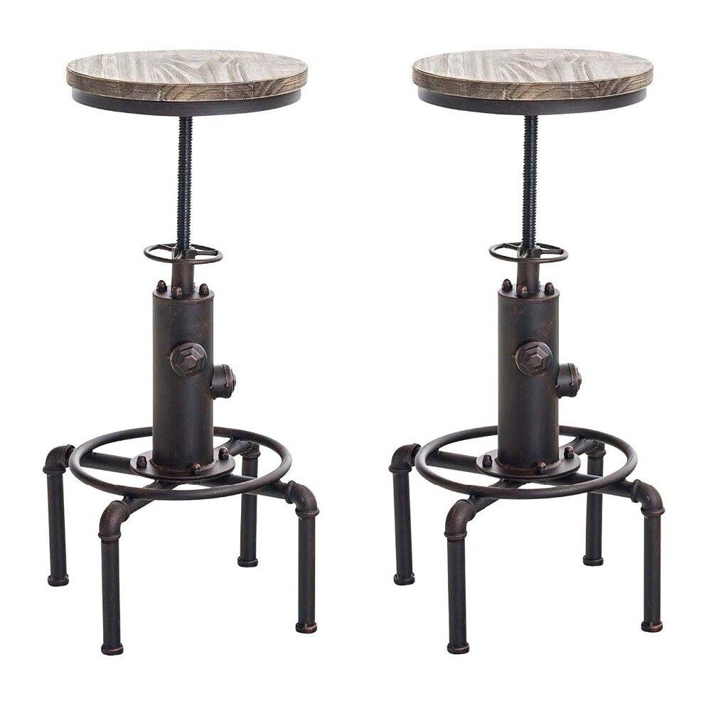 Набор из 2 пожарный дизайн Поворотный промышленный барный стул регулируемая высота Пайнвуд Топ Кухня стул с подножкой