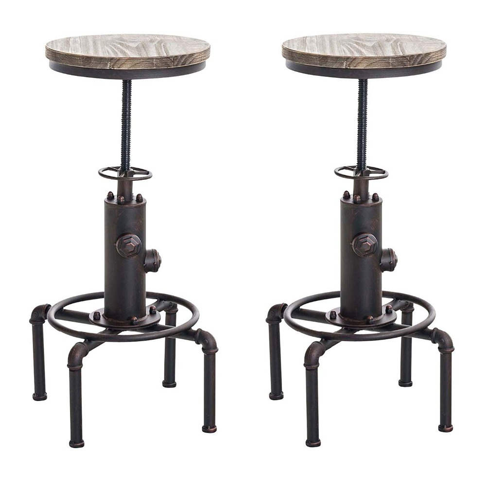 Set Of 2 Fire Hydrant Design Swivel Industrial Bar Stool Height Adjustable Pinewood Top Kitchen Dining Chair With Footrest