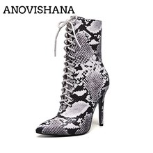 5b4c0ceb6 ANOVISHANA Women short Zipper Boots Snake Print Ankle Boots Thin High heels  Lace up Pointed toe