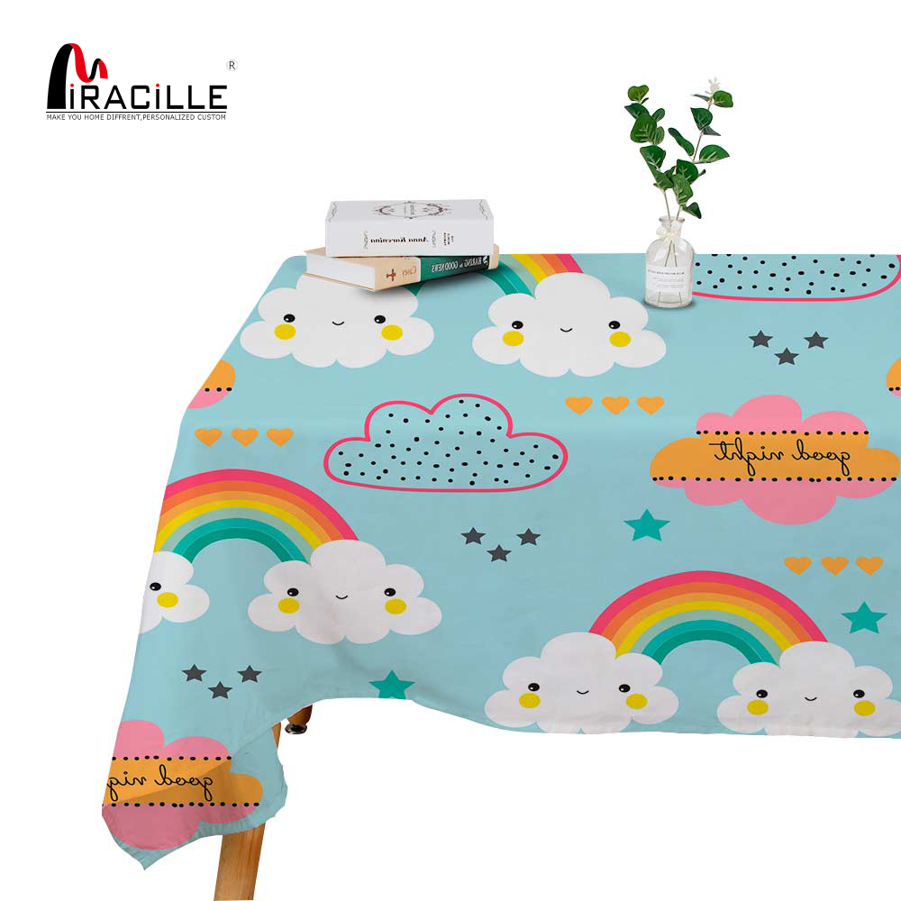 Miracille Cartoon Rainbow Printed Dinner Table Cloth Modern Home Party Decorative Tablecloth Cover For Kitchen