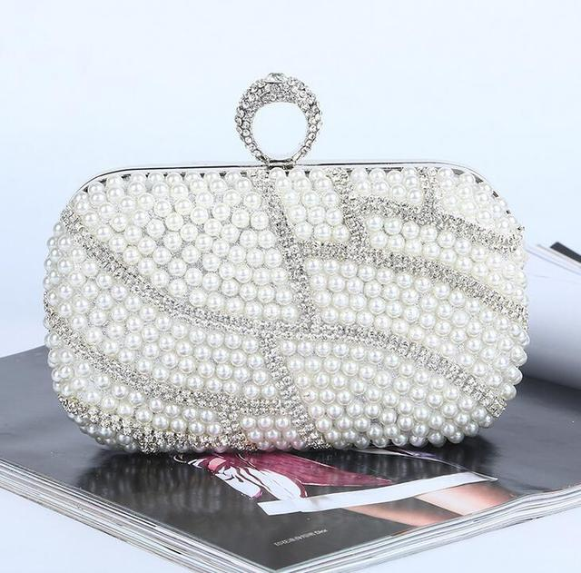 Pearl diamonds evening bag women s rhinestone day clutch female  wedding party bags Black ivory champagne Beading Purse handbags 97b67c6c10839