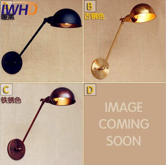 Iwhd Antique Gold Copper Vintage Wall Lights For Home Lighting Long Arm Loft Style Industrial Wall Lamp Sconce Appliques Pared Led Indoor Wall Lamps Led Lamps