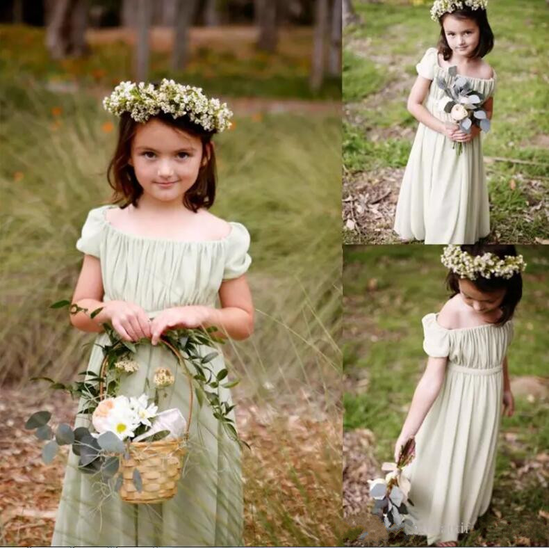 Bohemian Toddler Sage Chiffon Flower Girls Dresses For Weddings Summer Long Cheap Tiered Ruffles Birthday Communion Gown