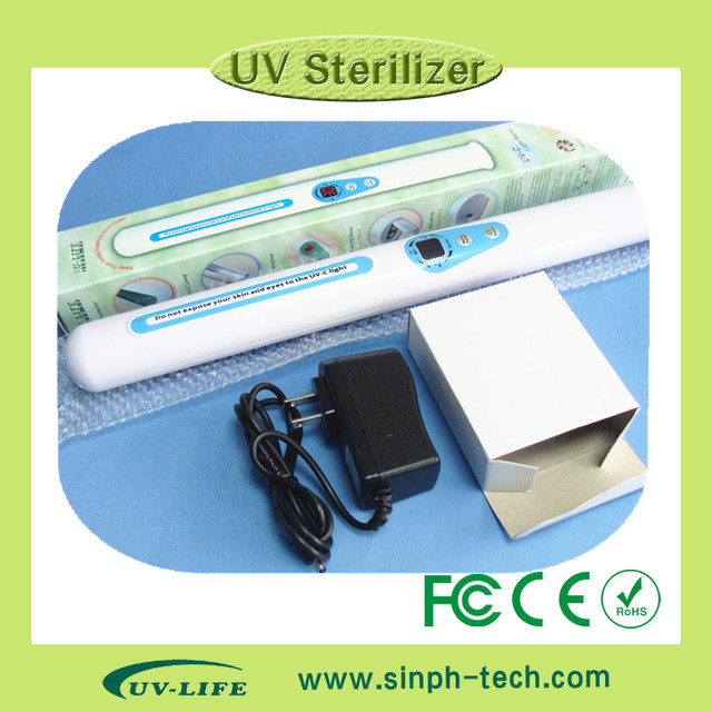 Multi-Function UV  Sterilizer Portable UV Sanitizer Hand Wand Ultraviolet Light Kill Bacteria Germ Sterilizer + 2pcs lamps