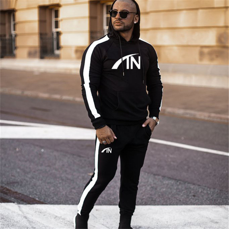 FRMARO 2019 Autumn brand sporting suit men Suit Men Hoodies Sets Mens Gyms Sportswear Jogger Suit Male Tracksuit sets-in Men's Sets from Men's Clothing