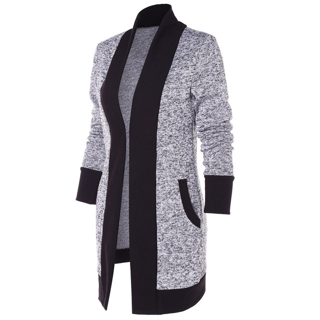 Fashion Casual Women Coat Long Sleeve Two Tone Patchwork Knit Pocket Cardigan Tops Streetwear Spring SpringCardigan Tops
