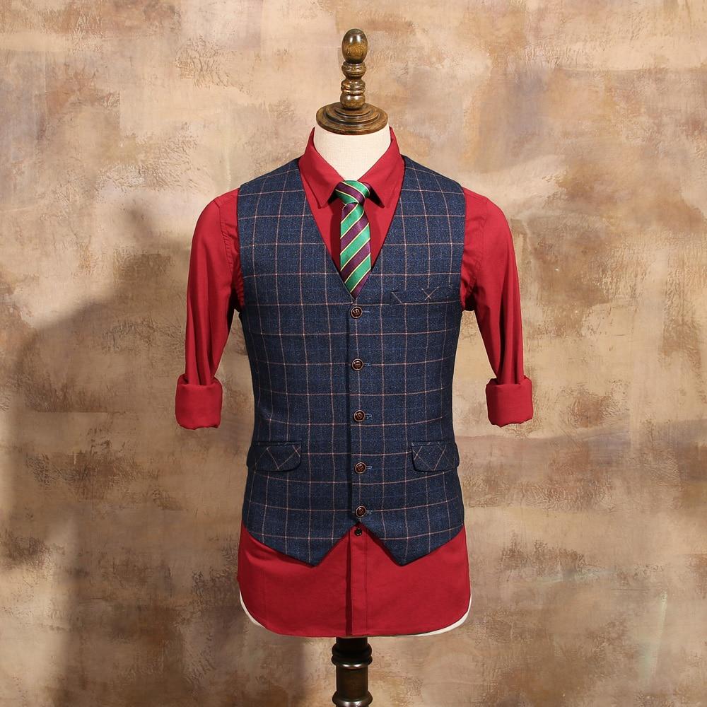 2019 New Arrival Men Fashion Blue Plaid Vests Male Slim Suit Vest Mens Vintage Wedding Dress Suits Wool Vest Waistcoat Cbmj034b