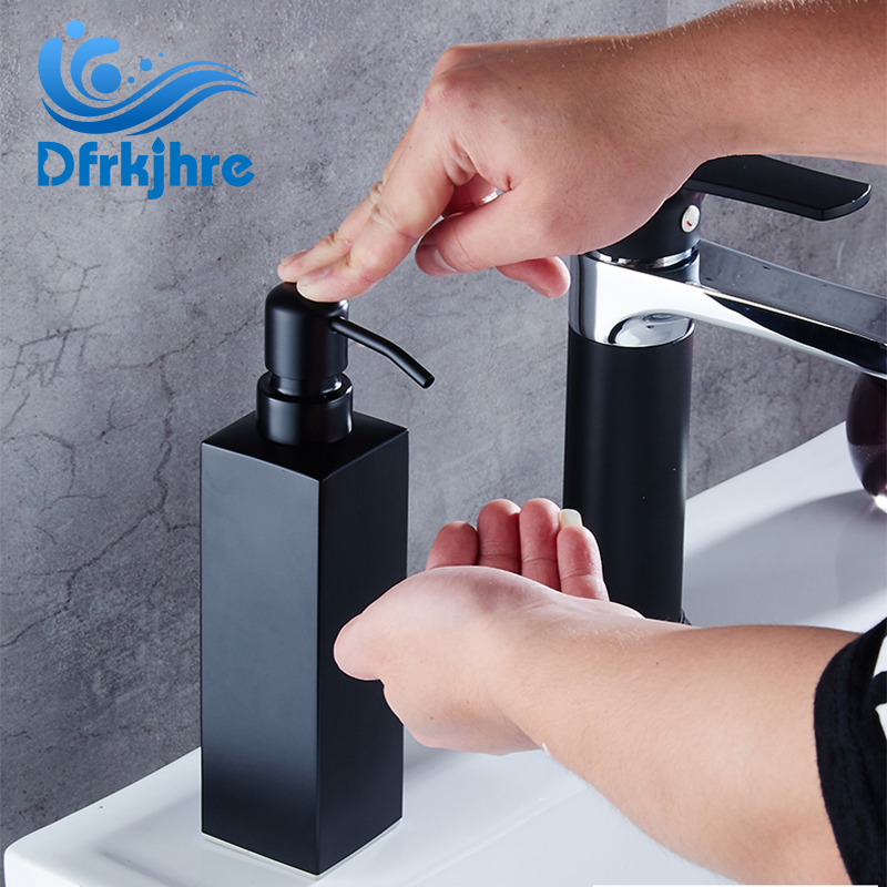 Black 500ml Stailess Steel Kitchen Sink Liquid Soap Dispenser Resist Rust Kitchen Soap Box Free Shipping modern black kitchen sink soap dispenser stainless steel hand dish liquid soap pump 500ml