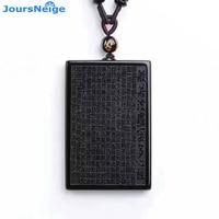 JoursNeige Natural Black Obsidian Stone Pendant Porosaurus Writing Heart Necklace Carved Buddha Lucky Amulet Pendant Jewelry