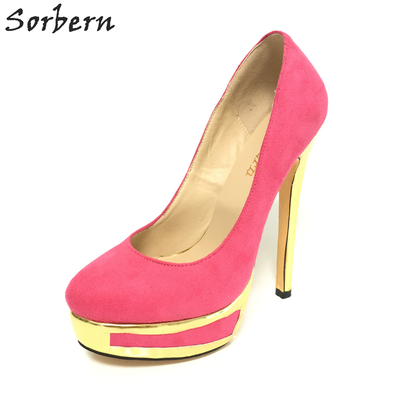 Sorbern Pink Women'S High Heels 3 Inch Up Platform Round Toe Shoes Bdsm Slip On Prom Models Pump Shoes Size 46 Custom Colors