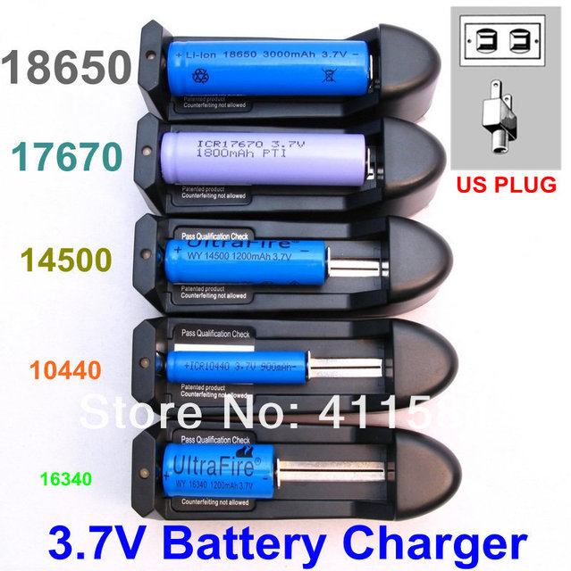 2pcs lot universal charger for rechargeable li ion battery 18650 aa aaa 14500 cr123a usa square. Black Bedroom Furniture Sets. Home Design Ideas