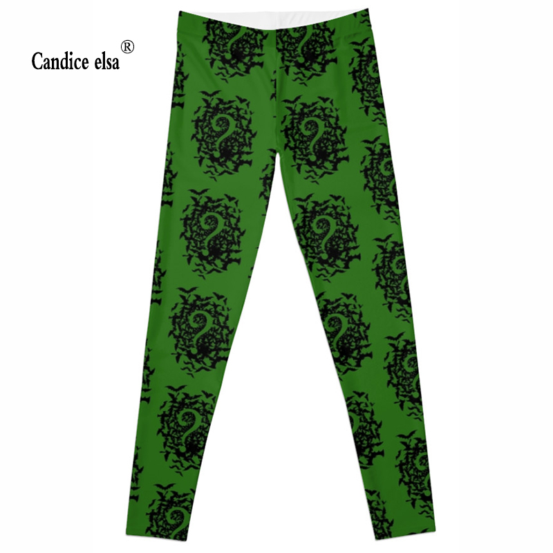 CANDICE ELSA sexy fashion women leggings question mark printed leggins fitness female pants drop shipping size s-4xl