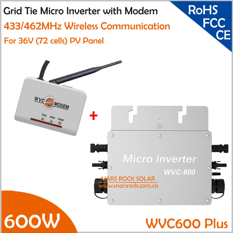 Waterproof 600W Micro Inverter with modom DC22-50V Wide Input to AC80-160V/180-260V High Efficiency MPPT Grid Tie Inverter 22 50v dc to ac110v or 220v waterproof 1200w grid tie mppt micro inverter with wireless communication function for 36v pv system