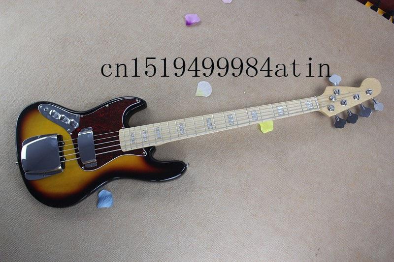 Livraison gratuite Banjo gaucher basse électrique guitare JAZZ BASS couleurs coucher du soleil guitare @ 3