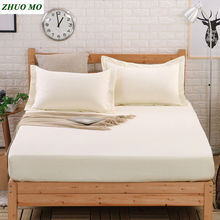 1pc 100% cotton solid color linens bed linen sheet on elastic Mattress Cover set  Solid Fitted Bed Sheet