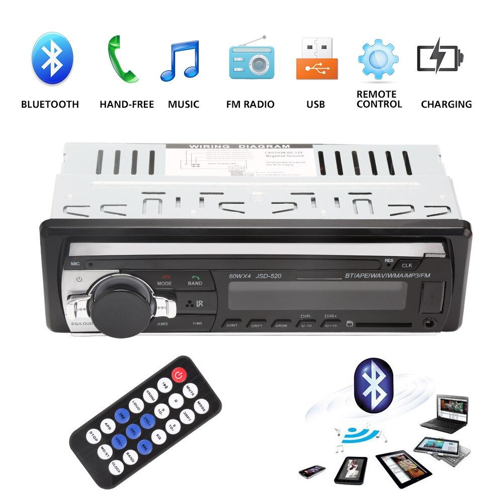 Bluetooth V2.0 JSD-520 estéreo Autoradio Car Radio 12 V en el tablero 1 Din FM RECEPTOR de entrada auxiliar SD USB MP3 MMC WMA coche reproductor de Audio