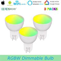 Smart Wifi Bulb GU5.3,RGBW Color Changing Smart Lamp Cup, 5 Watt Spotlight Equal to 50W ,Works with Alexa Google Assistant