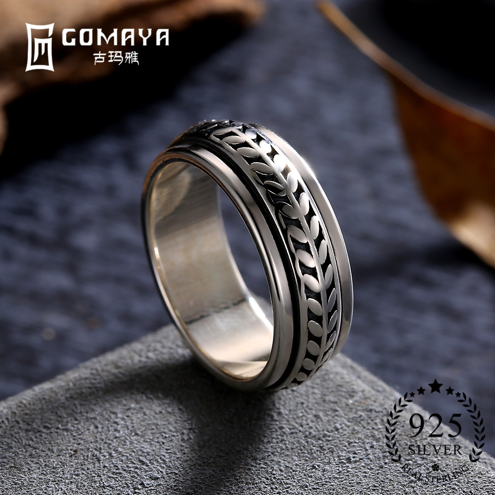 GOMAYA Vintage Street Dance Rock Punk Cocktail Rings Cool Gothic 925 Sterling Silver Unisex Party Jewelry For Women And Men