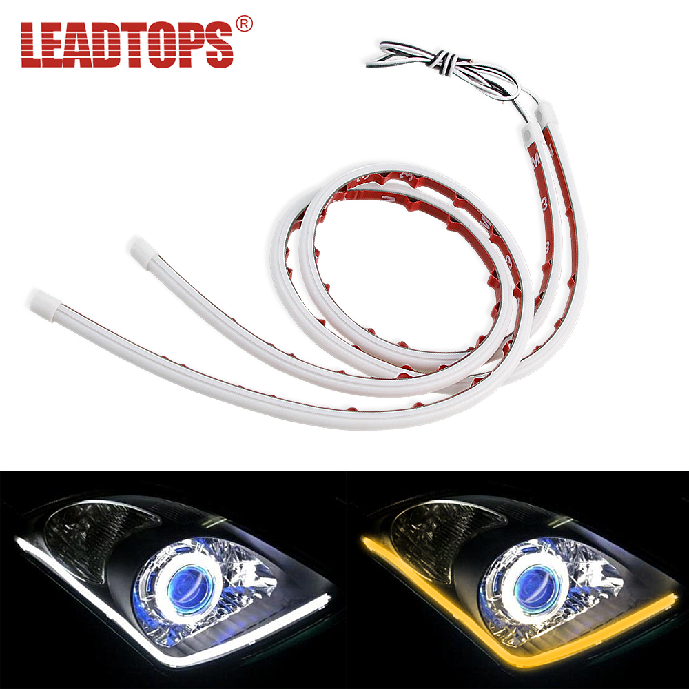 LEADTOPS 2pcs Silicagel LED DRL Car Turn Signal Light External Car Styling Light Strip Fexible 30cm 60cm Waterproof CJ in Car Light Assembly from Automobiles Motorcycles