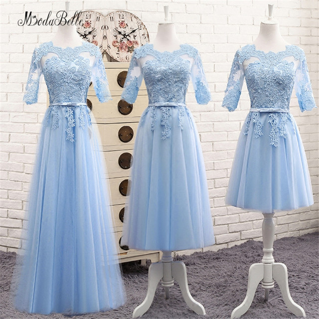fdd092d1c0d modabelle Long Lace Blue Bridesmaid Dress With Sleeves Sukienki Weselne  Cheap Party Dress Demoiselle D honneur Fast Shipping