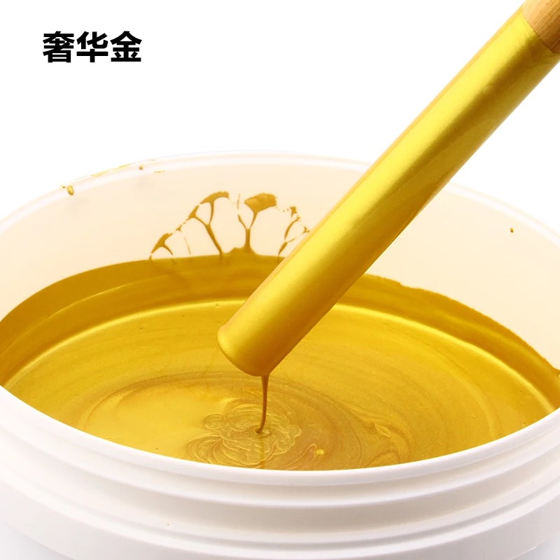 100g/350g Gold Paint For Wood, Metal, All Surface, Statuary Coloring, Painting, Water-based, Non-toxic, With Brush