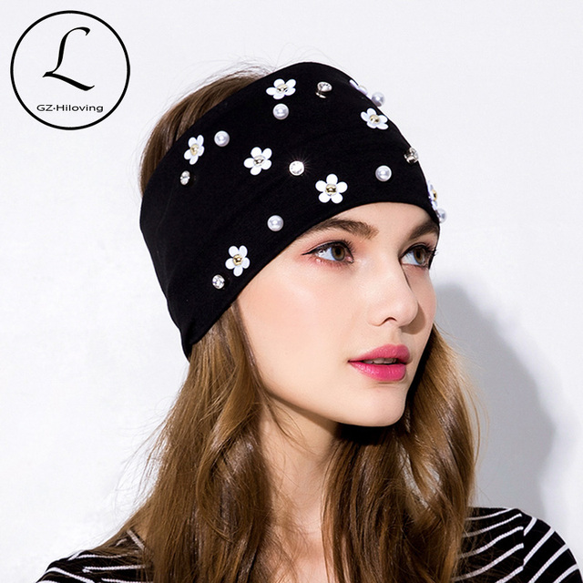 GZHILOVINGL 2019 Spring Summer Women Black Elastic Stretch Cotton Headband  Hair Accessories Pearl Flower Headbands Hair bands c9557ebf2a2c