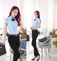 Plus Size 4XL novidade azul Design uniforme terninhos trabalho feminino ternos blusa e calças Ladies escritório calças conjunto de roupas