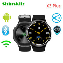Shinsklly Fashion X3 Plus Bluetooth Smart Watch Android 5.1 MTK6580 1GB+8GB Passometer Smartwatch Clock For iOS Android