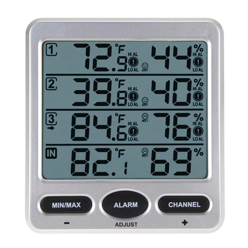 Переносной окружающей среды метеостанции Беспроводной ЖК-дисплей Цифровой термометр гигрометр крытый/Открытый 8-канальный термо-гигромет...