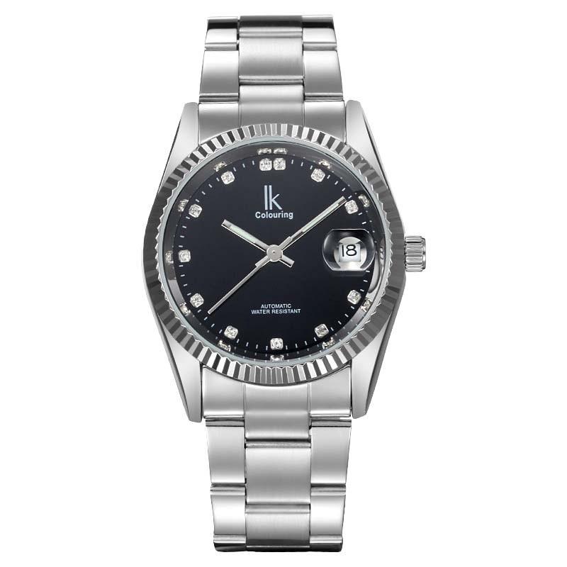 лучшая цена Ik Colouring gold steel strip calendar automatic mechanical watch vintage mens watch male casual watch