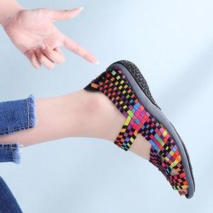 Image 3 - TKN 2019 Summer Women Flats Sandals Shoes Women Woven Flat Shoes Ladies Multi Colors Slip On ladies Sandals female loafers 812